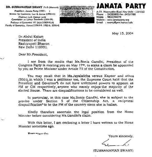 Swamy's Letter To Kalam on Sonia Gandhi.